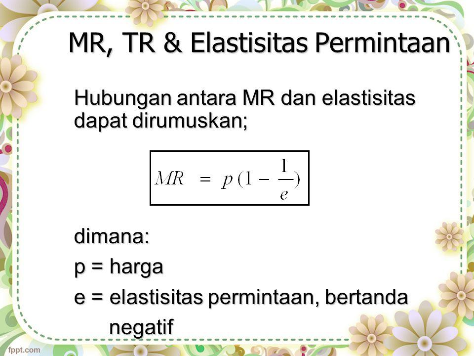 MR, TR & Elastisitas Permintaan
