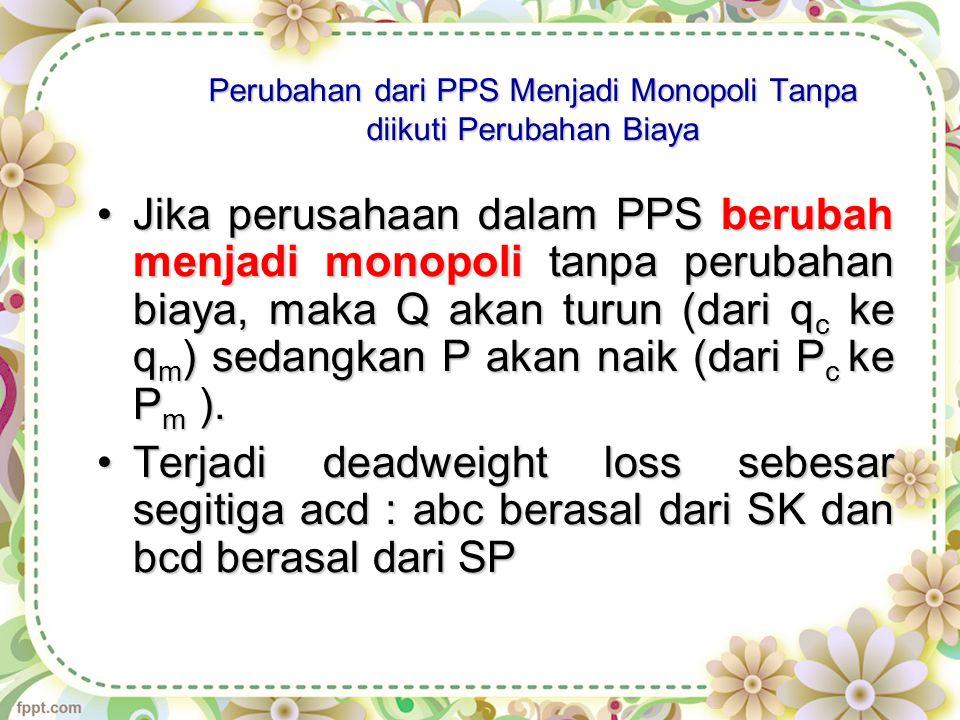 Perubahan dari PPS Menjadi Monopoli Tanpa diikuti Perubahan Biaya