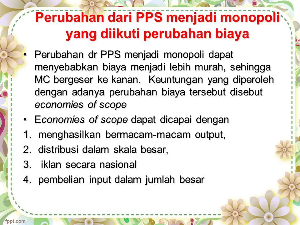 Perubahan dari PPS menjadi monopoli yang diikuti perubahan biaya
