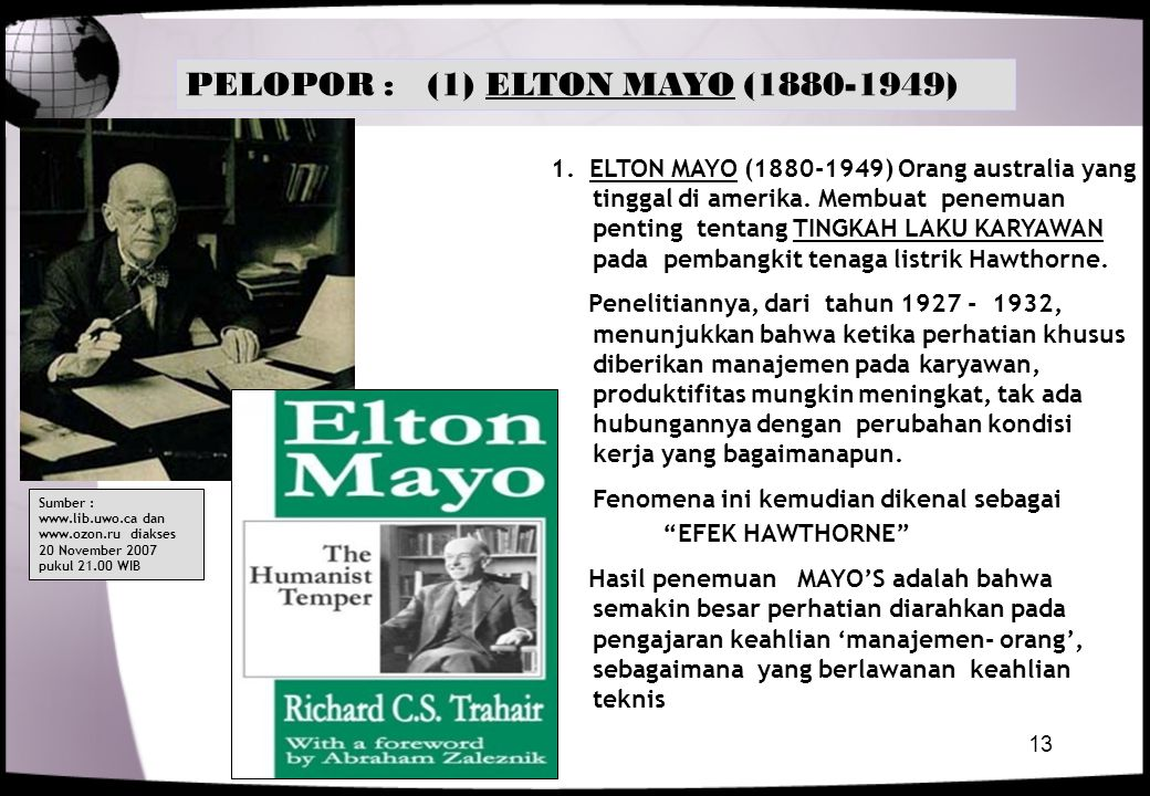 PELOPOR : (1) ELTON MAYO (1880-1949)