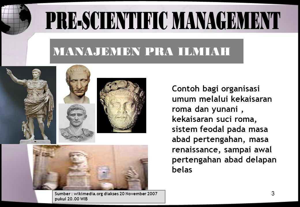 PRE-SCIENTIFIC MANAGEMENT