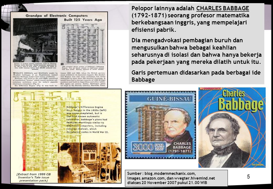 Garis pertemuan didasarkan pada berbagai ide Babbage