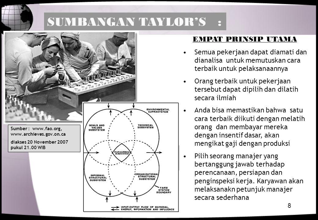SUMBANGAN TAYLOR'S : EMPAT PRINSIP UTAMA