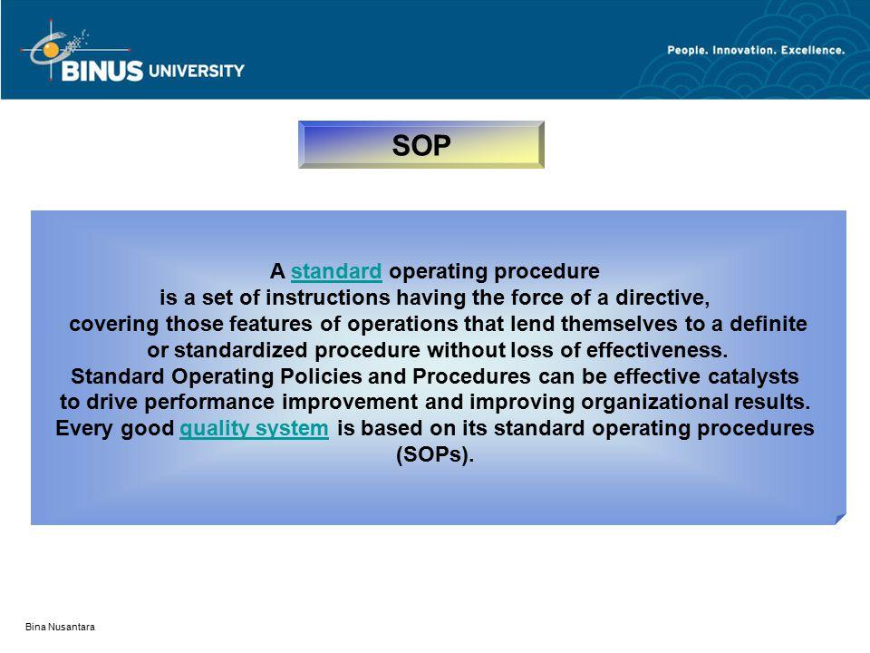 SOP A standard operating procedure