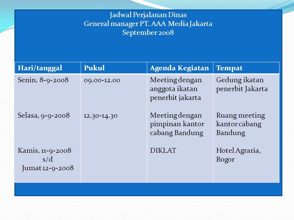 Jadwal Perjalanan Dinas General manager PT. AAA Media Jakarta