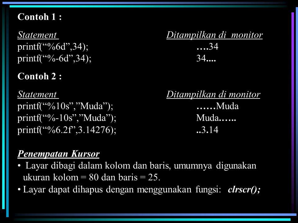 Contoh 1 : Statement Ditampilkan di monitor. printf( %6d ,34); ….34. printf( %-6d ,34); 34....