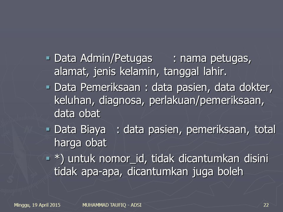 Data Biaya : data pasien, pemeriksaan, total harga obat