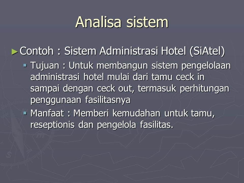Analisa sistem Contoh : Sistem Administrasi Hotel (SiAtel)