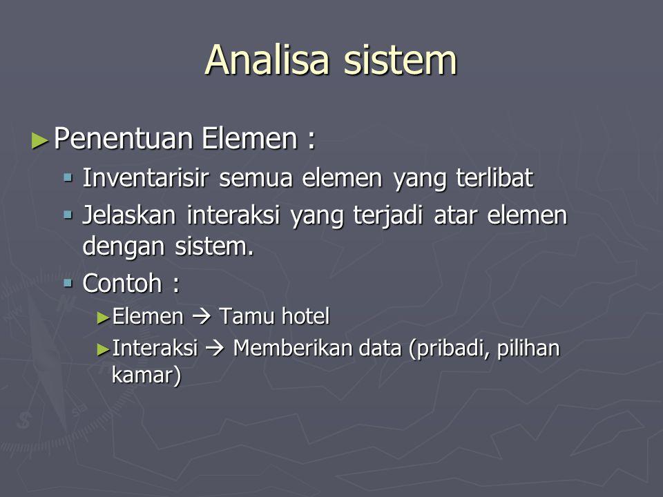 Analisa sistem Penentuan Elemen :
