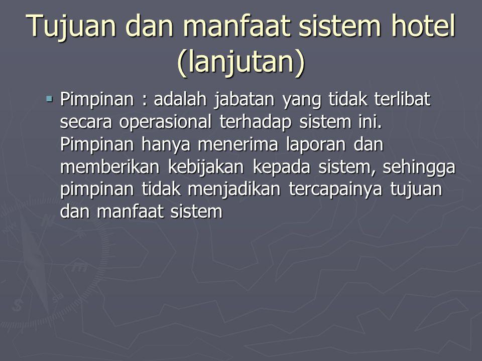 Tujuan dan manfaat sistem hotel (lanjutan)