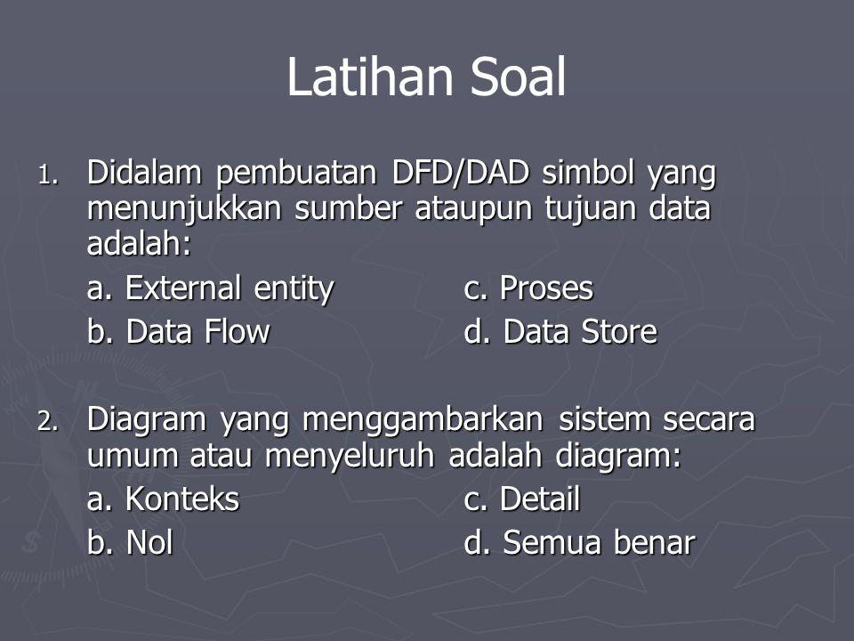 Latihan Soal Didalam pembuatan DFD/DAD simbol yang menunjukkan sumber ataupun tujuan data adalah: a. External entity c. Proses.