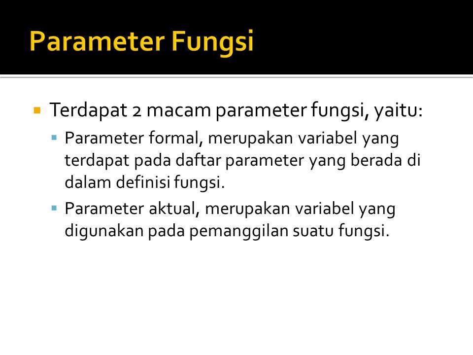Parameter Fungsi Terdapat 2 macam parameter fungsi, yaitu: