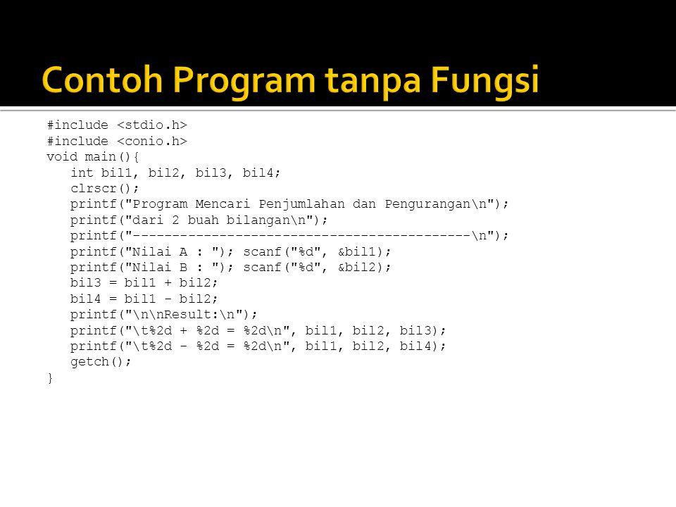 Contoh Program tanpa Fungsi