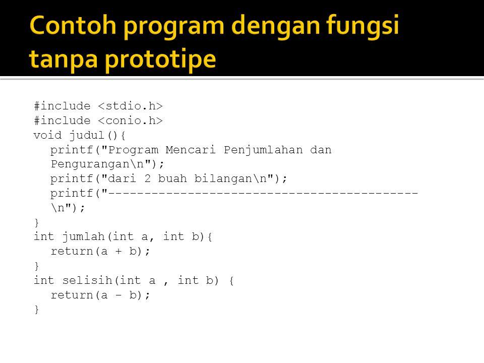 Contoh program dengan fungsi tanpa prototipe
