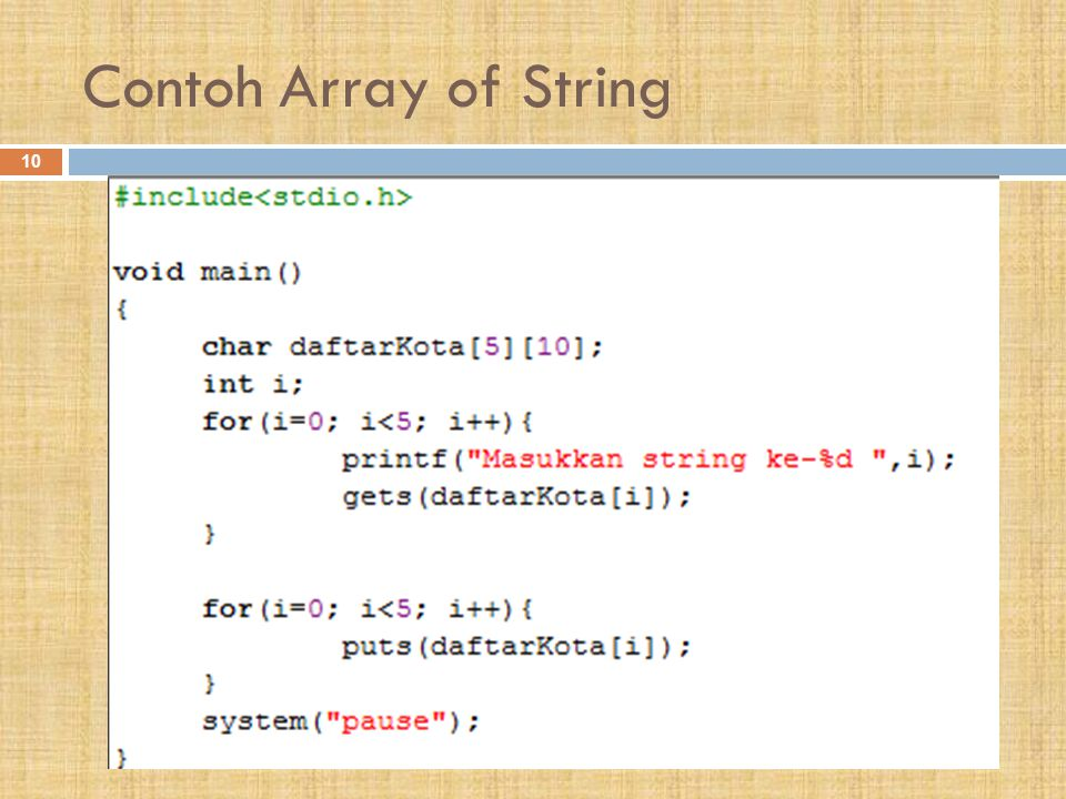Contoh Array of String