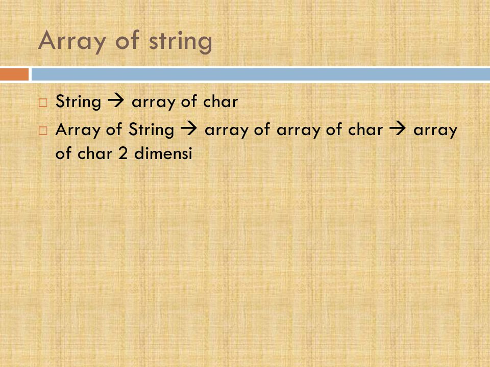 Array of string String  array of char