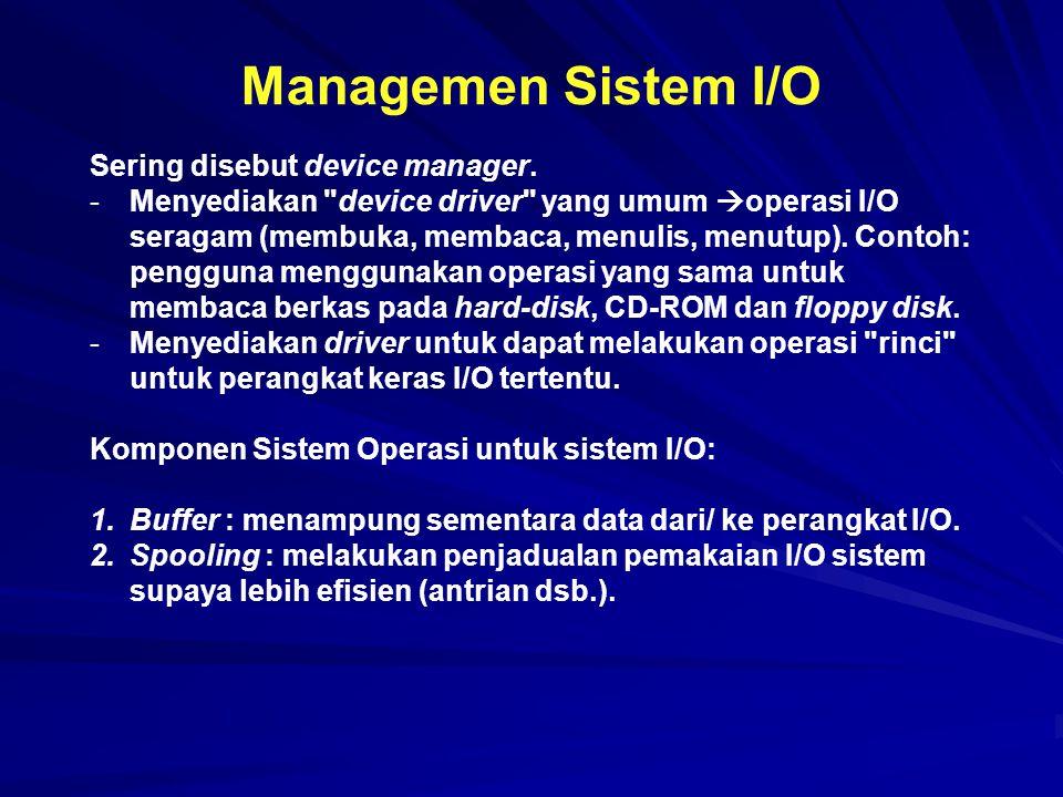 Managemen Sistem I/O Sering disebut device manager.