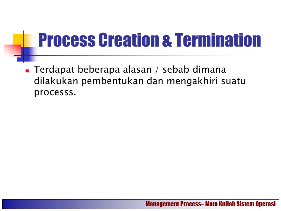 Process Creation & Termination