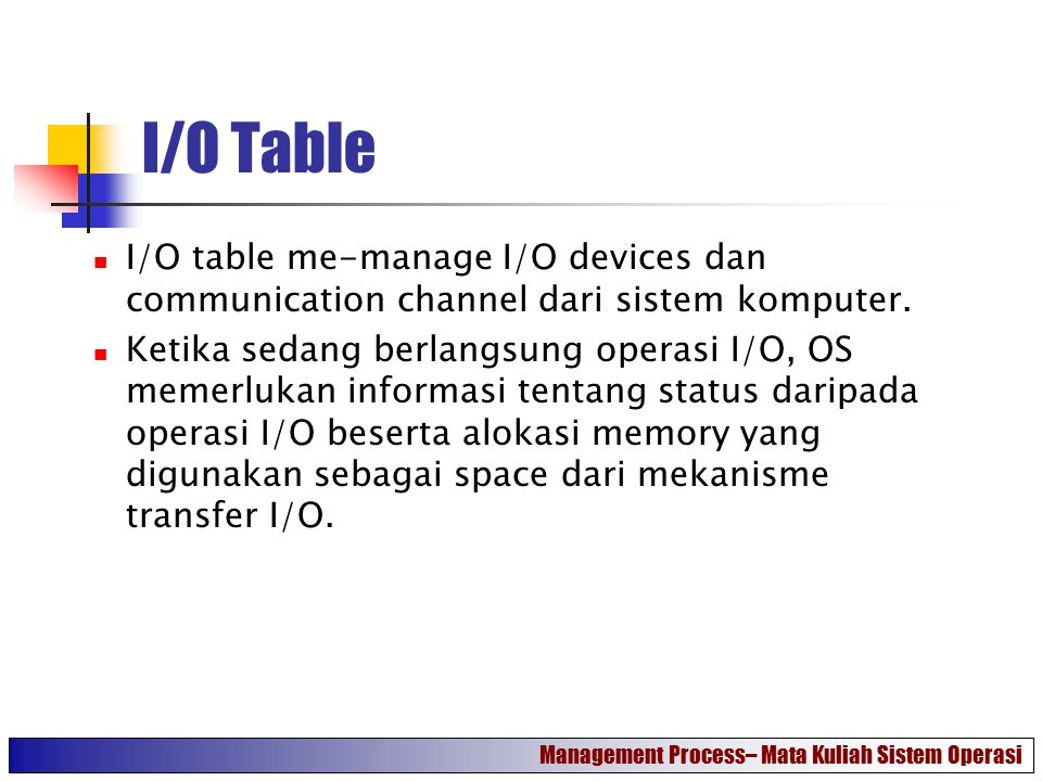 I/O Table I/O table me-manage I/O devices dan communication channel dari sistem komputer.