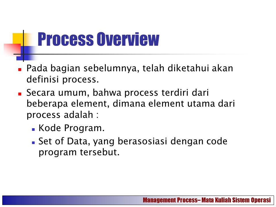 Process Overview Pada bagian sebelumnya, telah diketahui akan definisi process.