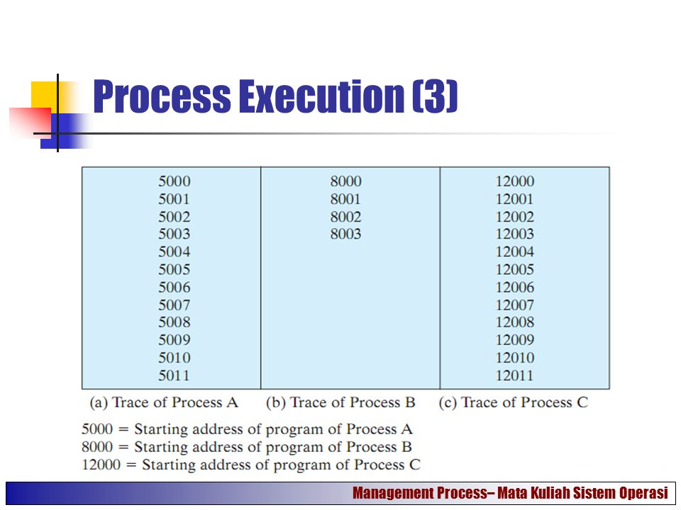 Process Execution (3) Management Process– Mata Kuliah Sistem Operasi