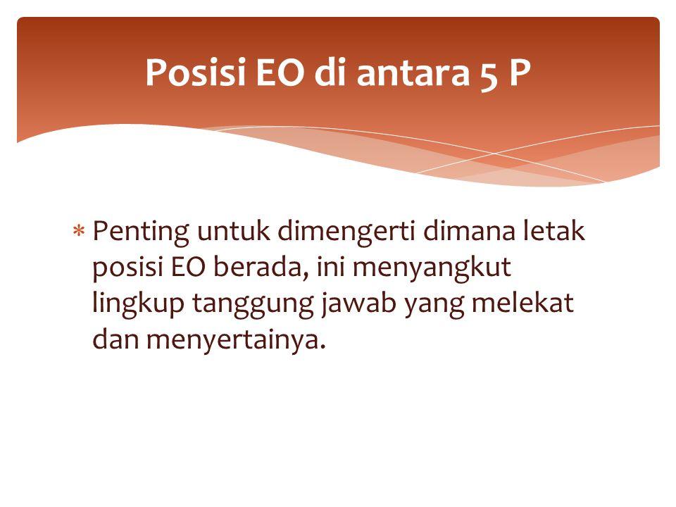 Posisi EO di antara 5 P Penting untuk dimengerti dimana letak posisi EO berada, ini menyangkut lingkup tanggung jawab yang melekat dan menyertainya.