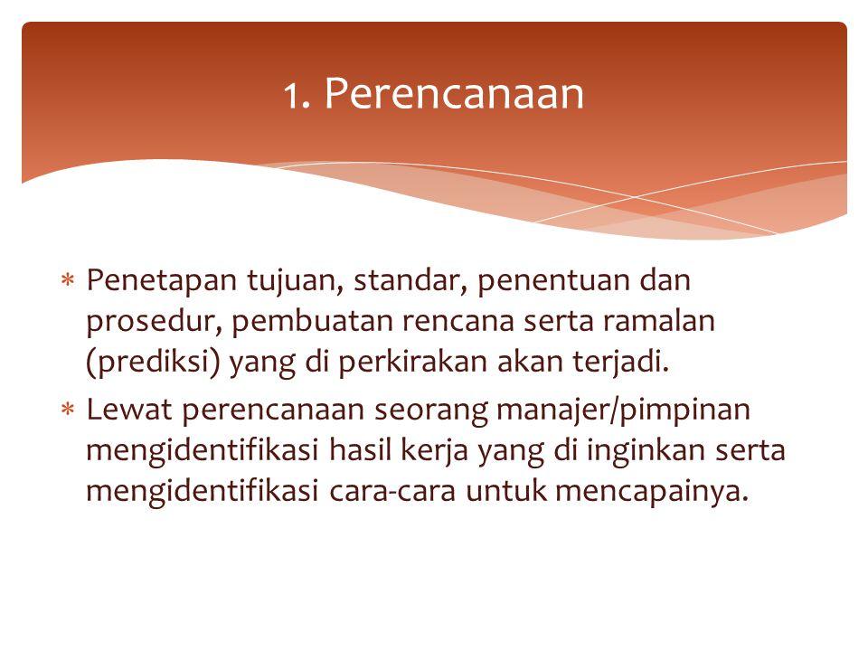 1. Perencanaan Penetapan tujuan, standar, penentuan dan prosedur, pembuatan rencana serta ramalan (prediksi) yang di perkirakan akan terjadi.