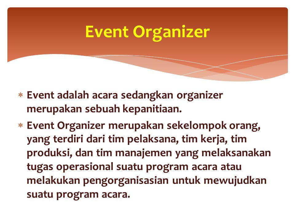 Event Organizer Event adalah acara sedangkan organizer merupakan sebuah kepanitiaan.