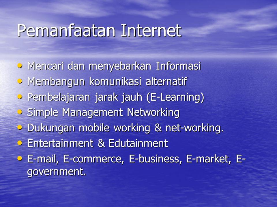 Pemanfaatan Internet Mencari dan menyebarkan Informasi