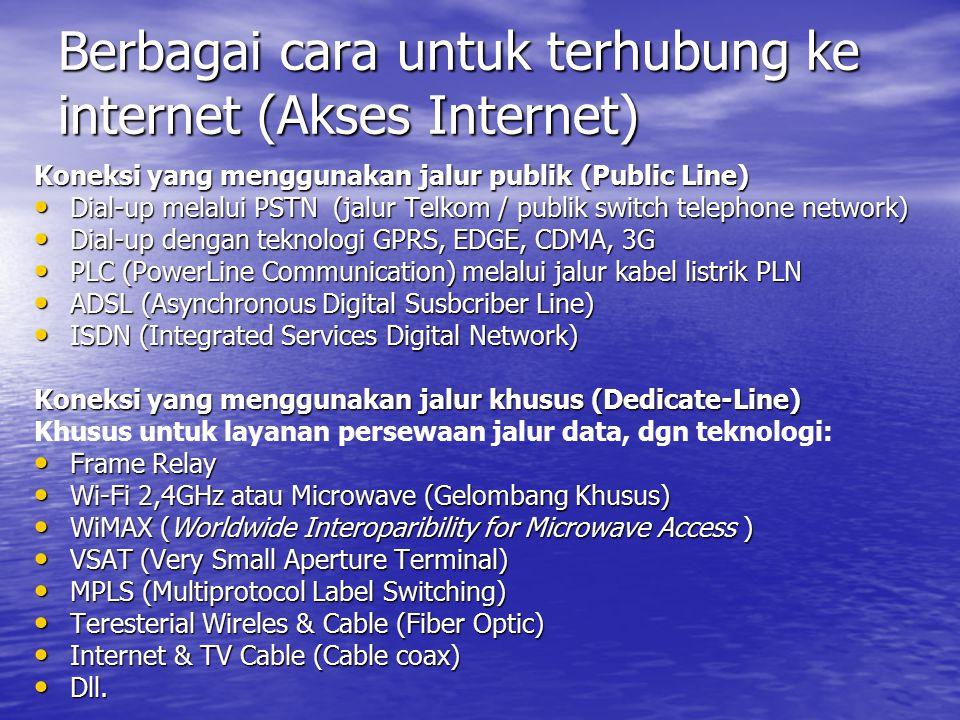 Berbagai cara untuk terhubung ke internet (Akses Internet)