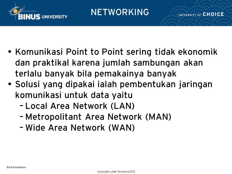 Local Area Network (LAN) Metropolitant Area Network (MAN)