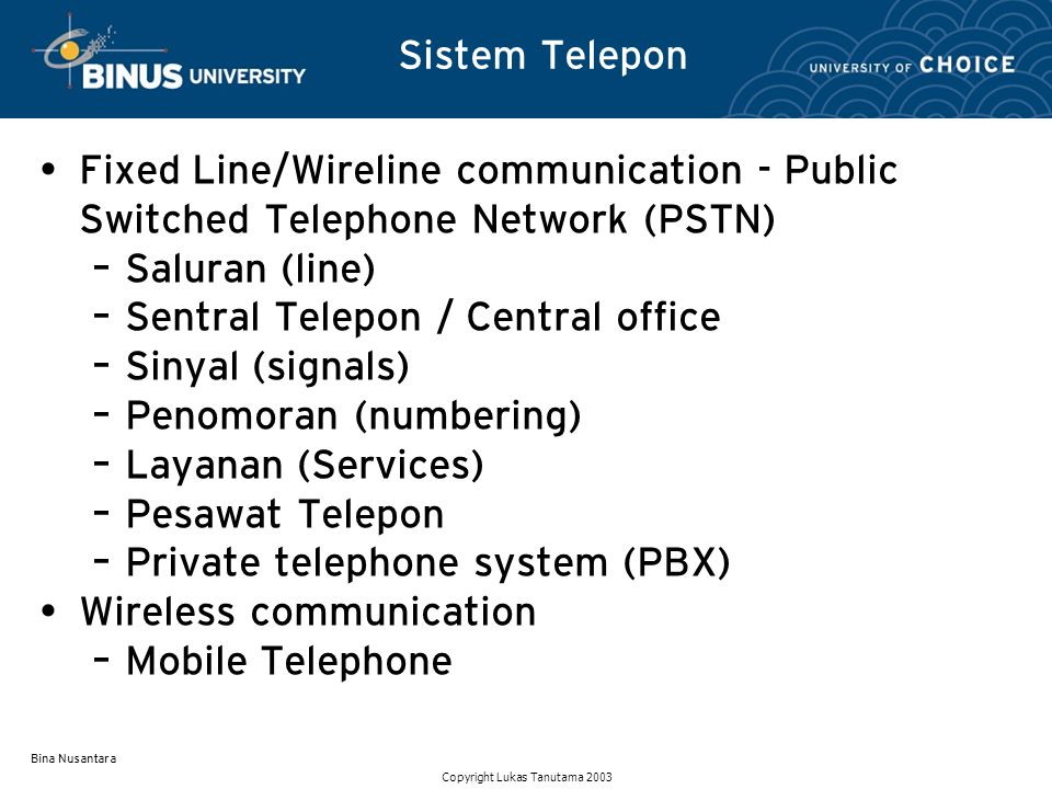 Sentral Telepon / Central office Sinyal (signals)