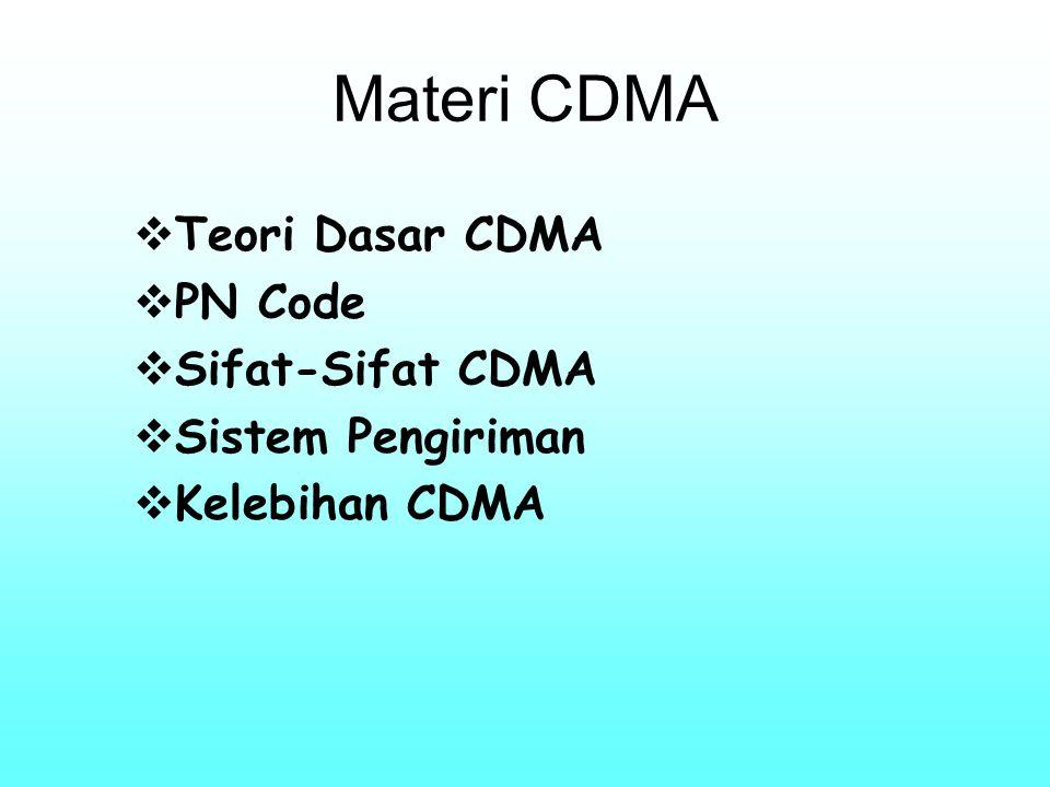 Materi CDMA Teori Dasar CDMA PN Code Sifat-Sifat CDMA
