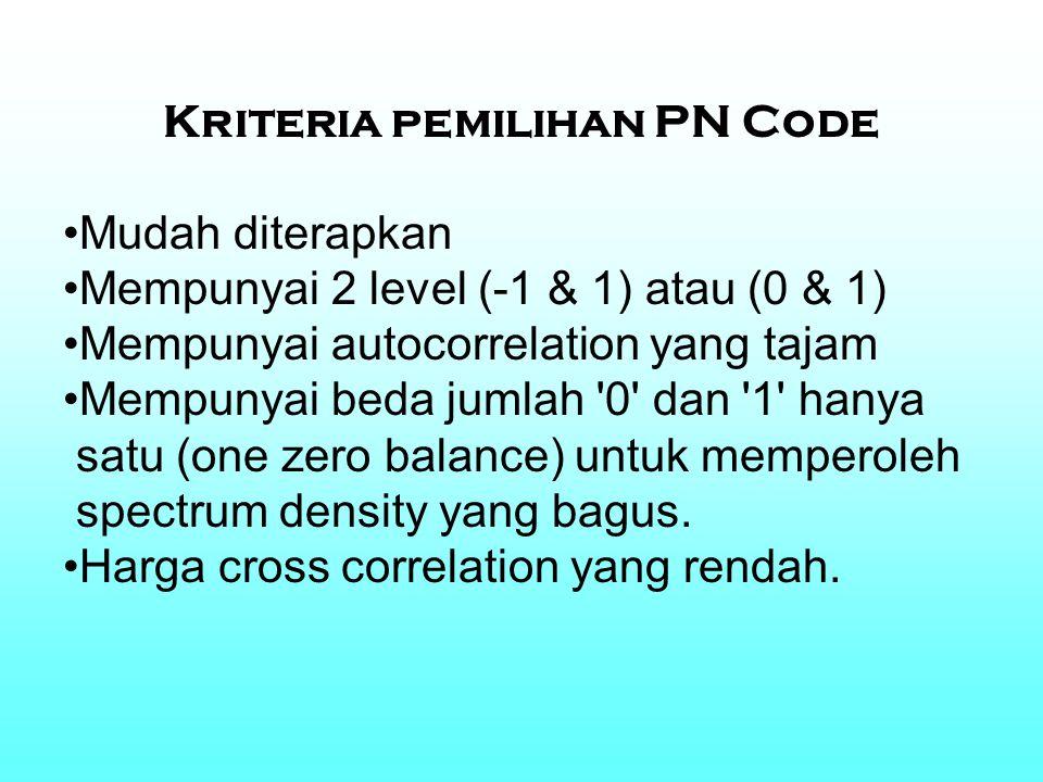 Kriteria pemilihan PN Code