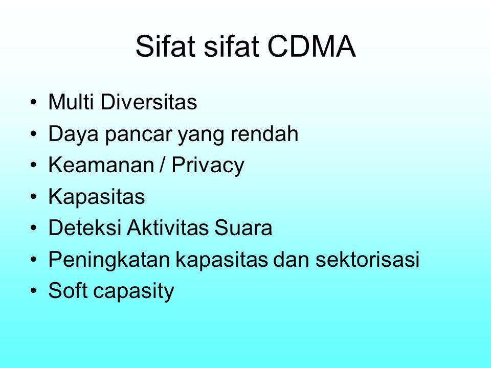 Sifat sifat CDMA Multi Diversitas Daya pancar yang rendah