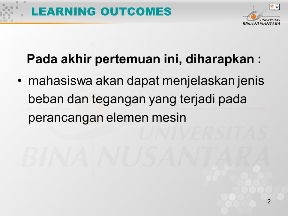LEARNING OUTCOMES Pada akhir pertemuan ini, diharapkan :