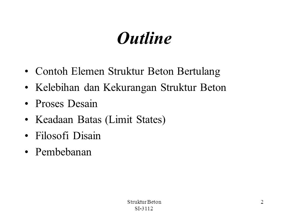 Outline Contoh Elemen Struktur Beton Bertulang