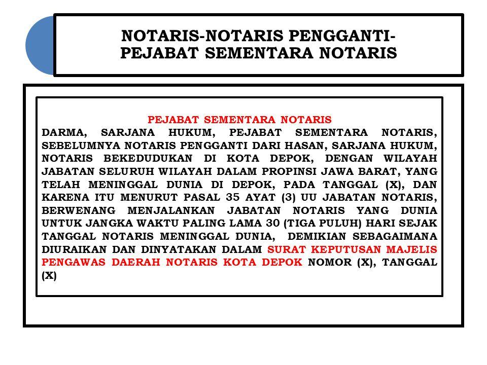 NOTARIS-NOTARIS PENGGANTI- PEJABAT SEMENTARA NOTARIS