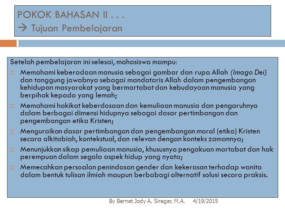 POKOK BAHASAN II . . .  Tujuan Pembelajaran