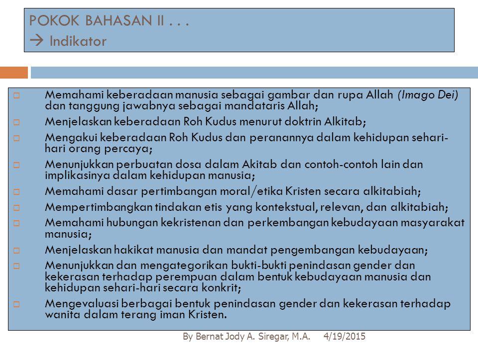 POKOK BAHASAN II . . .  Indikator