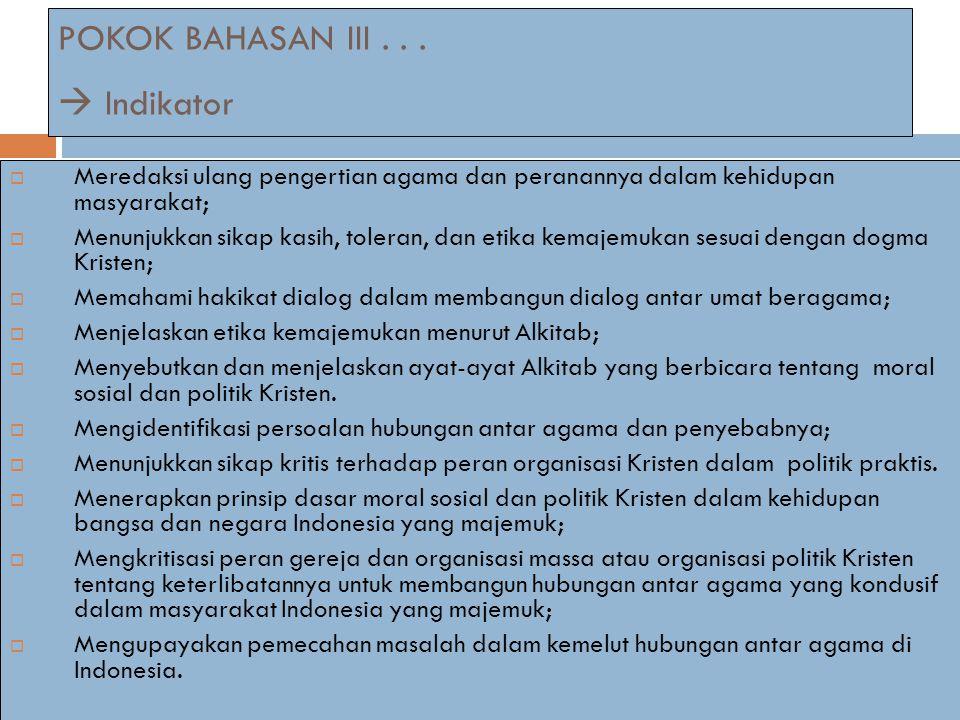 POKOK BAHASAN III . . .  Indikator