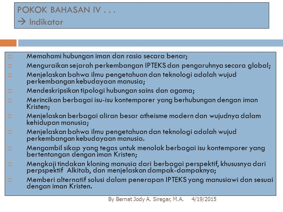 POKOK BAHASAN IV . . .  Indikator