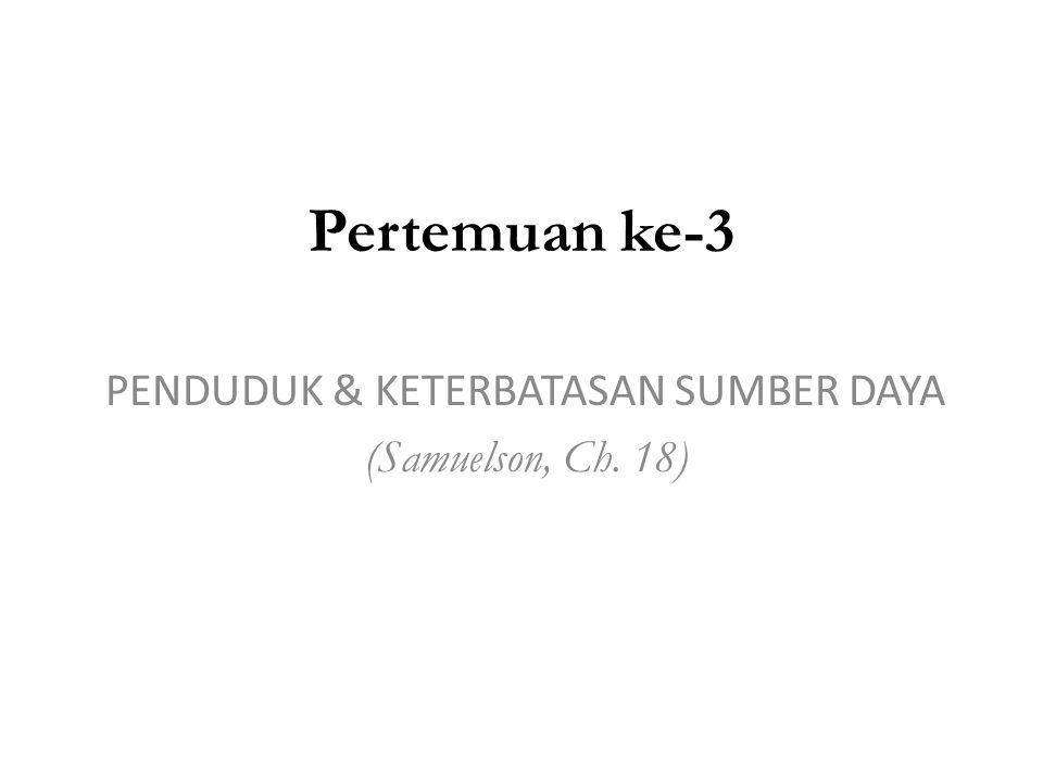 PENDUDUK & KETERBATASAN SUMBER DAYA (Samuelson, Ch. 18)