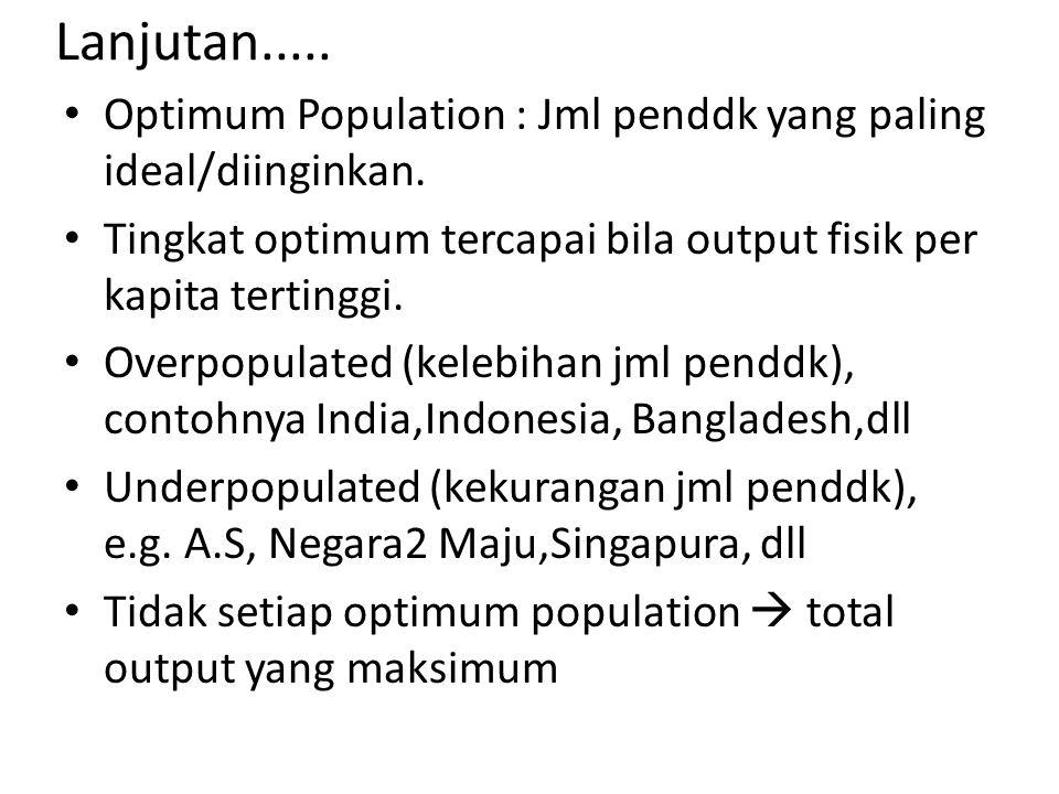 Lanjutan..... Optimum Population : Jml penddk yang paling ideal/diinginkan. Tingkat optimum tercapai bila output fisik per kapita tertinggi.