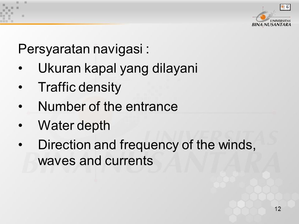 Persyaratan navigasi :