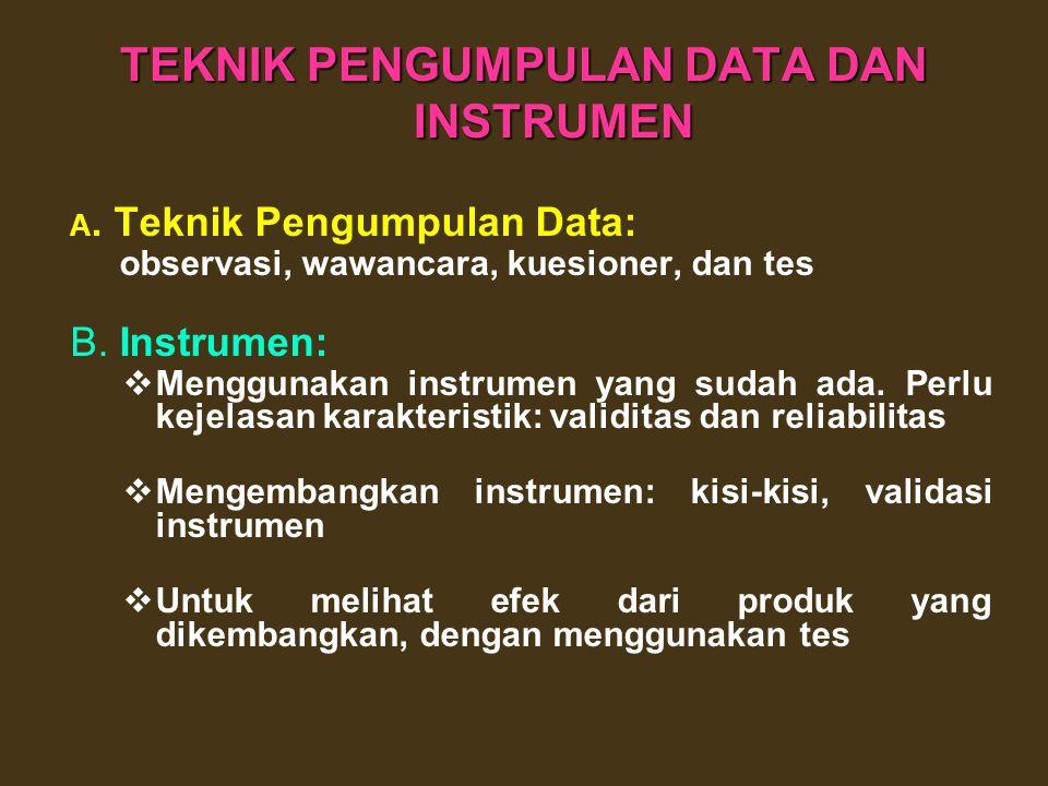 TEKNIK PENGUMPULAN DATA DAN INSTRUMEN
