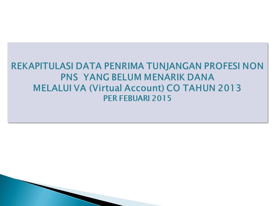 MELALUI VA (Virtual Account) CO TAHUN 2013