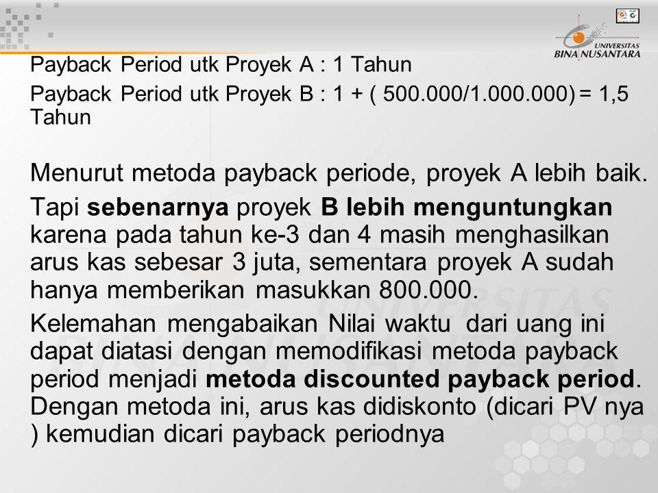Menurut metoda payback periode, proyek A lebih baik.