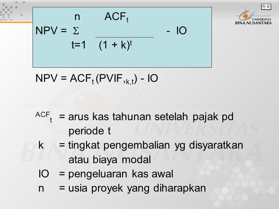 n ACFt NPV =  - IO. t=1 (1 + k)t. NPV = ACFt (PVIF,k,t) - IO.