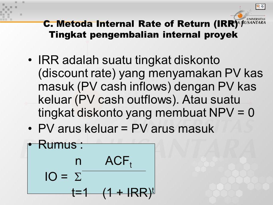PV arus keluar = PV arus masuk Rumus : n ACFt IO =  t=1 (1 + IRR)t